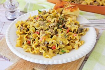 Philly cheese steak pasta in skillet