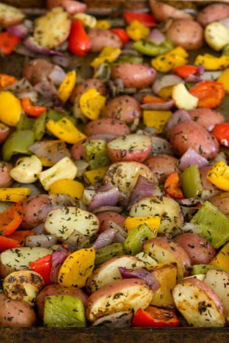 Roasted potatoes up close