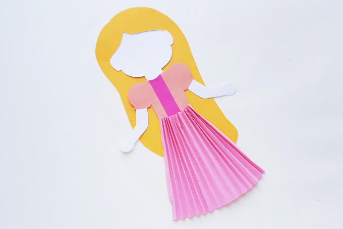 Rapunzel paper craft with accordion skirt