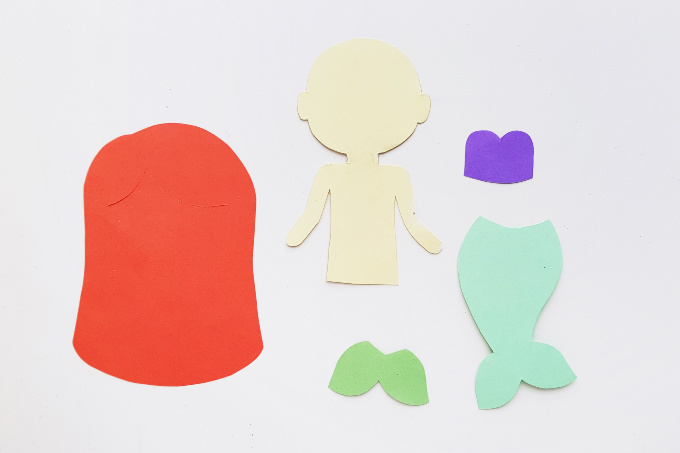 Ariel paper doll template pieces