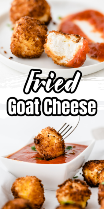 Dipping fried goat cheese