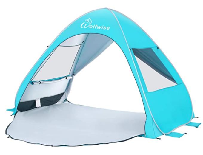 Blue opup beach tent