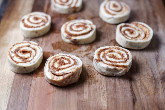 Cinnamon rolls cut for monkey bread