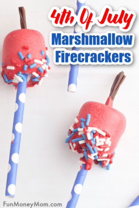 Fourth Of July Marshmallow Pops on a straw