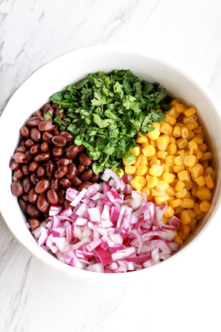 Ingredients for black bean and corn salsa