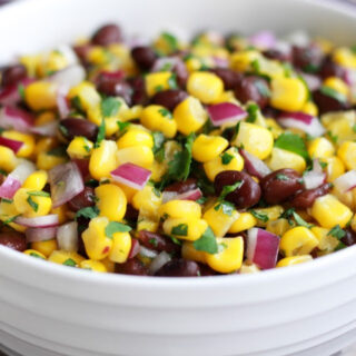 Black bean and corn salsa in a bowl