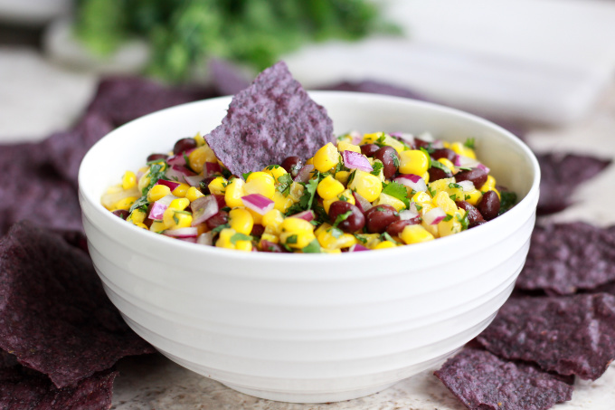 Black bean and corn salsa with purple chips