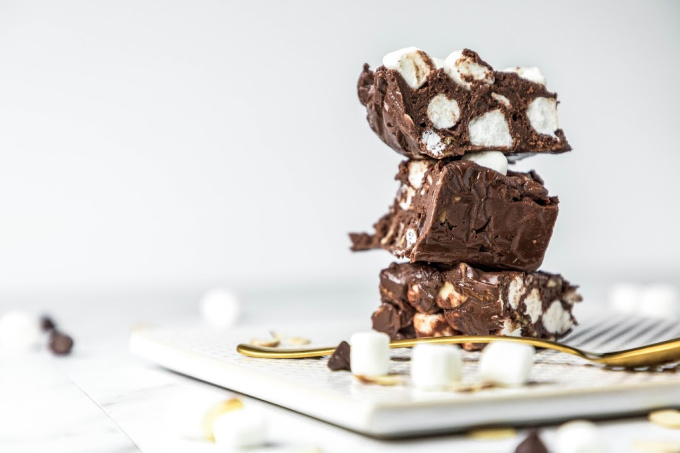 Rocky Road Fudge on a white plate