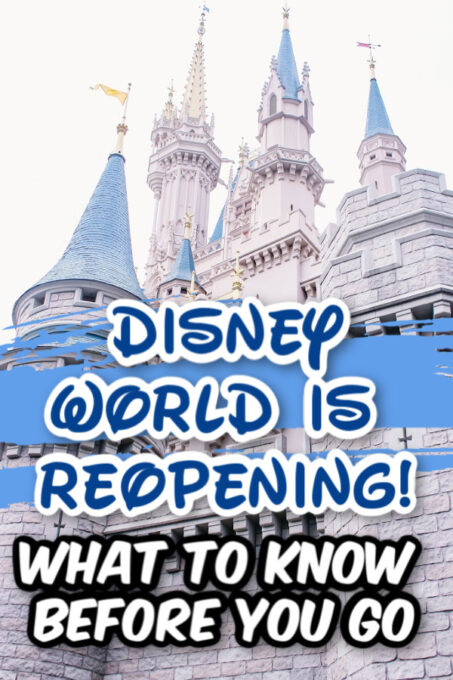 Disney world reopening with picture of Cinderella's castle