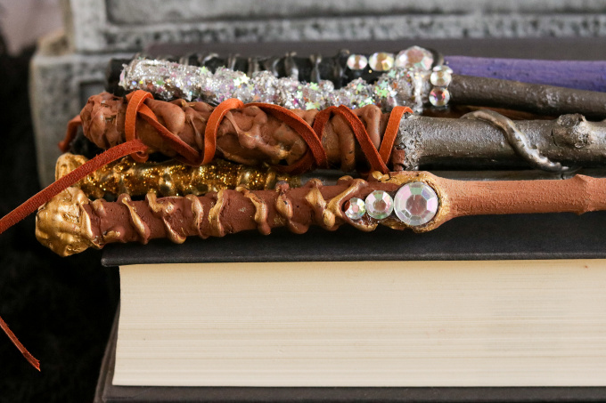 Wizard wands on a book
