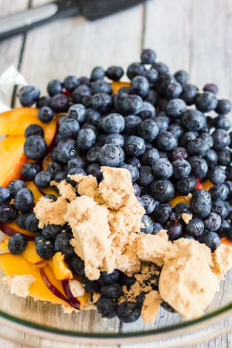 Fruit in bowl for blueberry peach galette