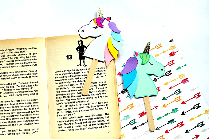 Unicorn bookmarks with book