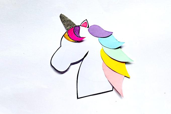 Unicorn horn glued to unicorn head