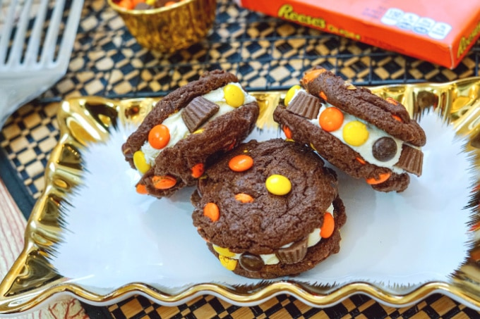 Reese's pieces stuffed chocolate peanut butter cookies