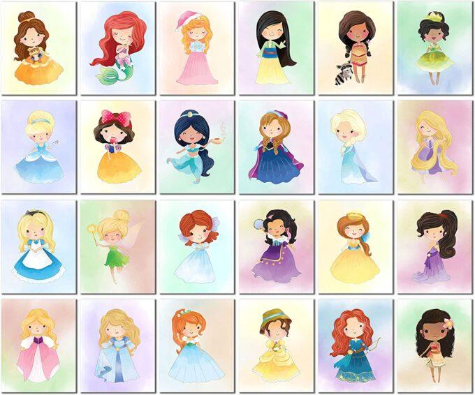 Watercolor Disney princess art