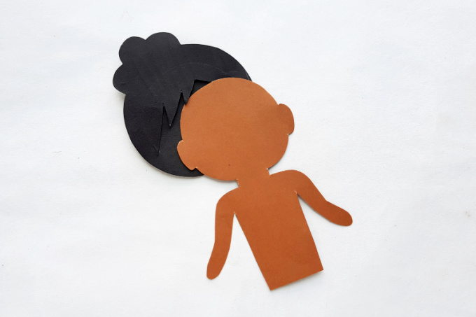 Hair for Tiana paper doll craft