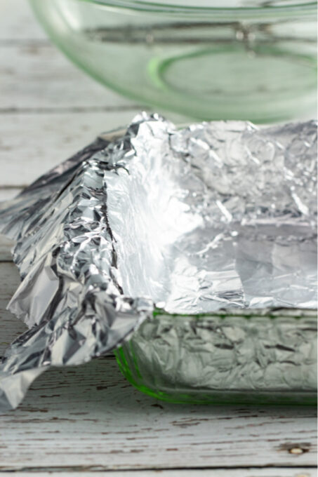 Cake pan lined with foil