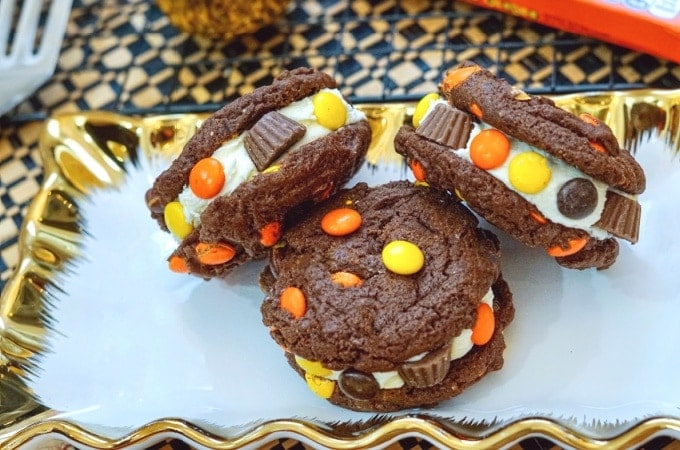 Reeses pieces stuffed chocolate peanut butter cookies feature