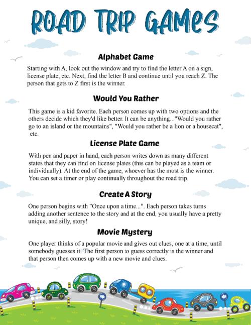 Road trip games free printable