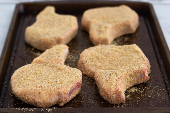 Shake And Bake Pork Chops on a baking sheet
