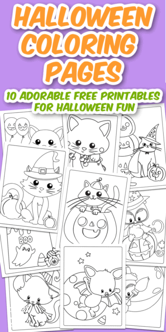 Halloween coloring pages collage