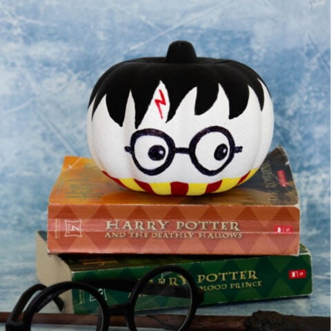Harry Potter pumpkin on books square