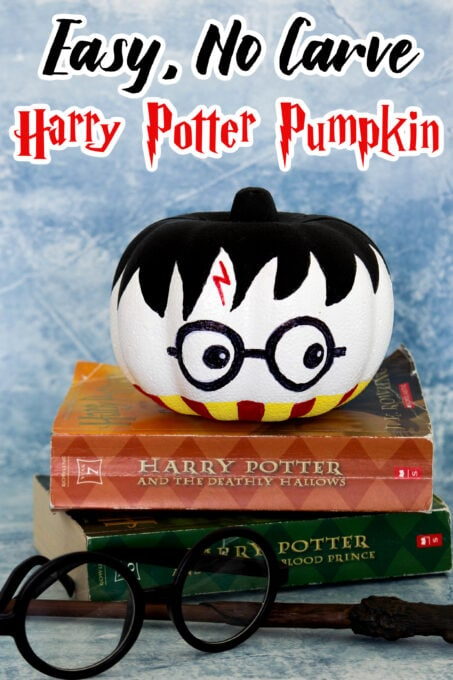 Harry Potter pumpkin on stack of books