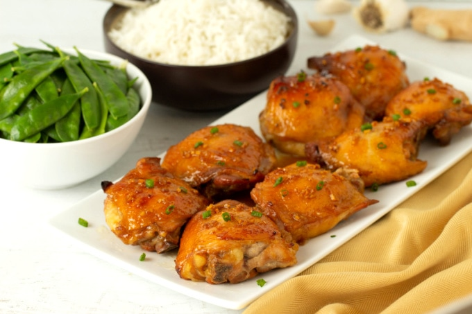 Honey garlic chicken with side dishes