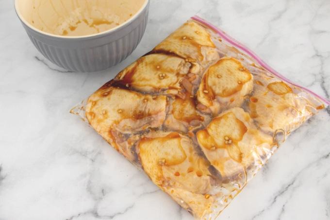 Honey garlic chicken marinating in bag