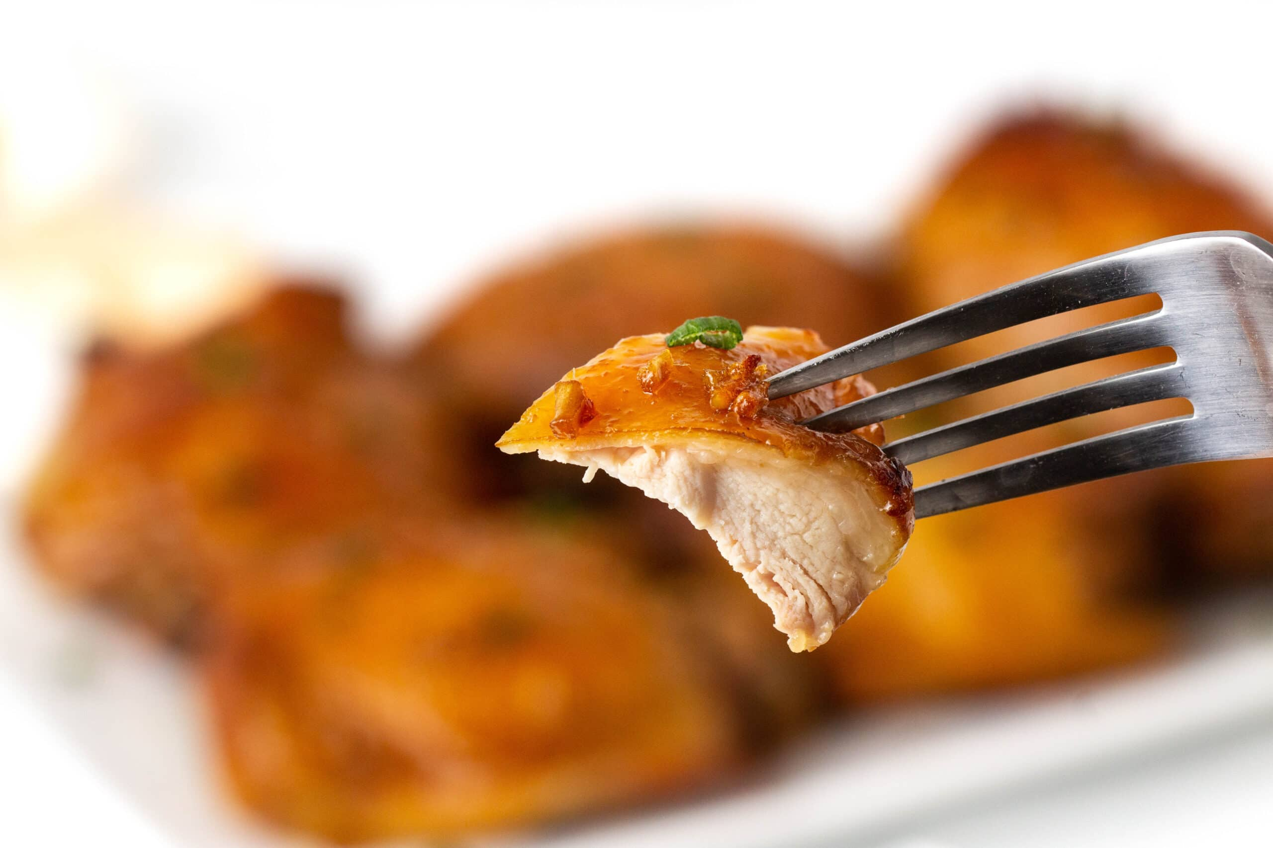 Honey Garlic Chicken on a fork