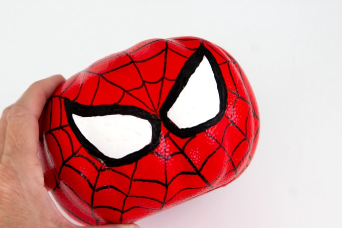 Spiderman pumpkin with completed web