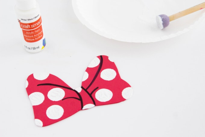 White polka dots on Minnie Mouse bow