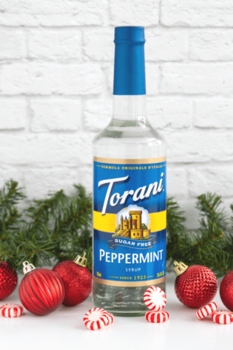 Bottle of Torani Sugar Free Peppermint Syrup