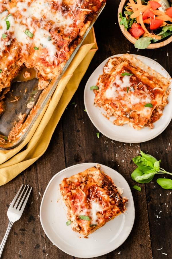 Lasagna slices on plates