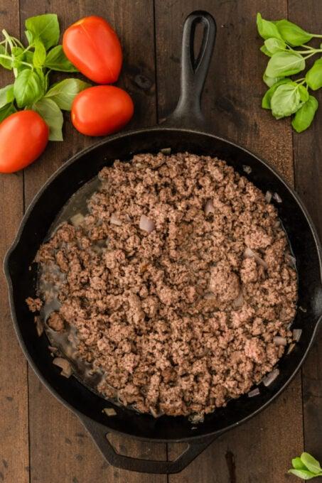 Browned beef in a skillet