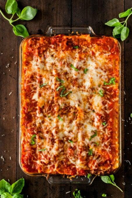 Fresh baked classic lasagna