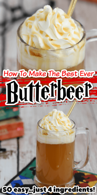 Butterbeer in mug with lots of whipped cream