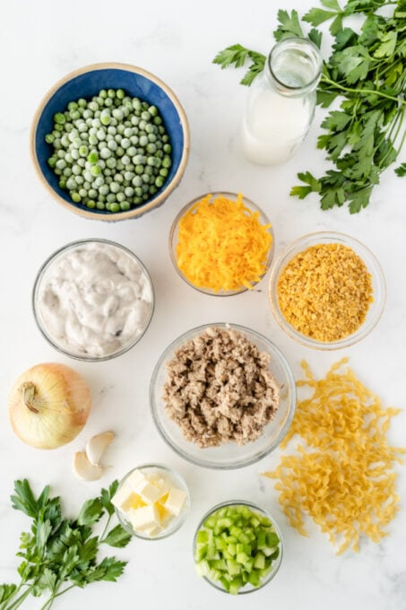 Ingredients for tuna noodle casserole