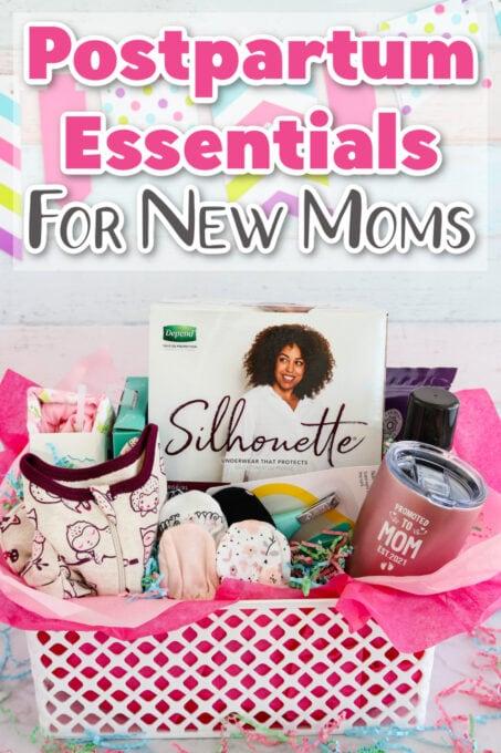 Postpartum essentials gift basket
