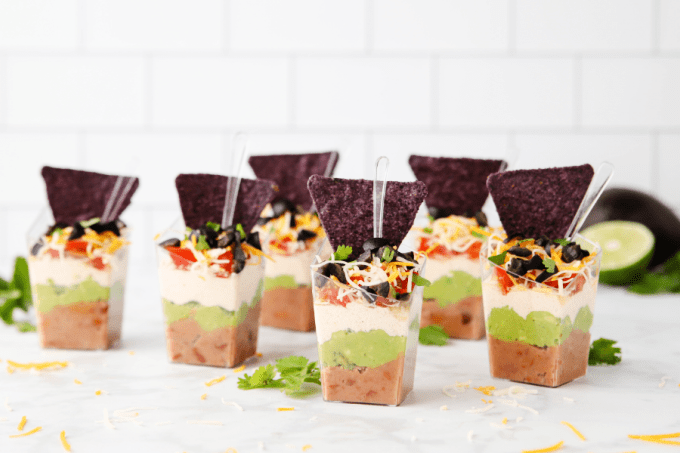 Seven Layer Dip Cups with chips