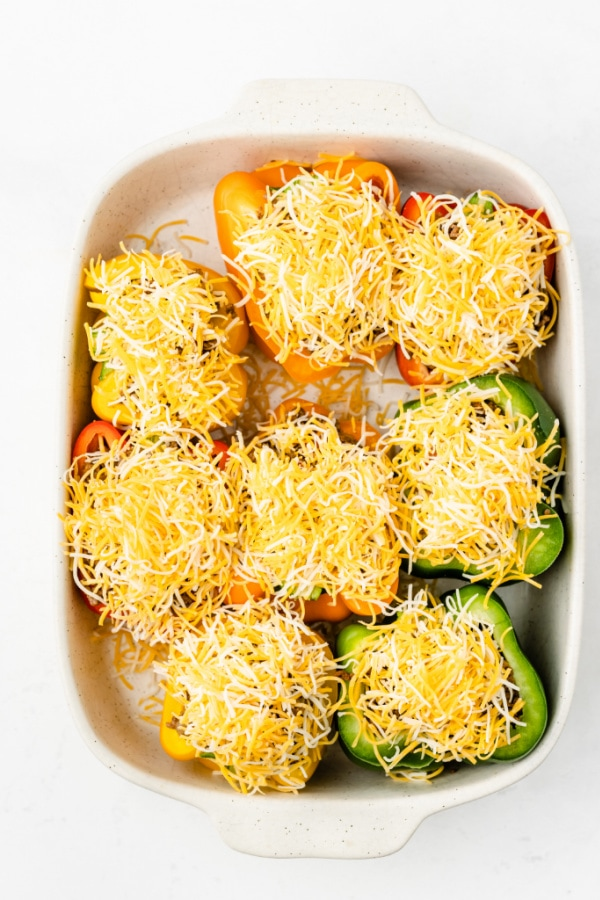 Bell peppers topped with cheese