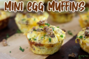 Mini egg muffins on cutting board